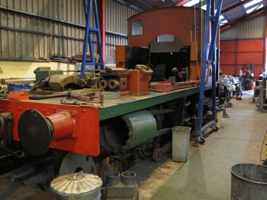 Chassis of No. 6 in the workshop