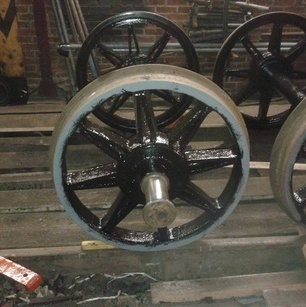 a wheelset partly painted