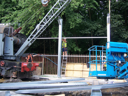 uprights being craned into place