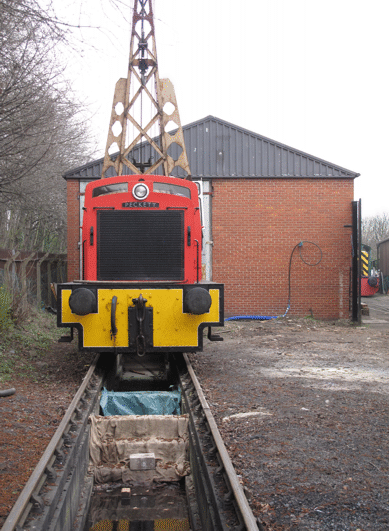 a locomotive on the site of the Running Shed