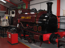 a locomotive in the display hall