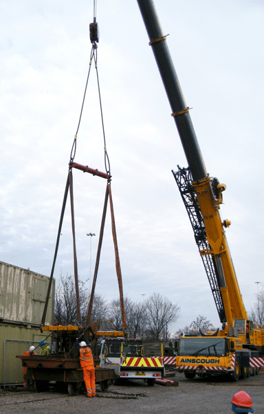 the crane in position