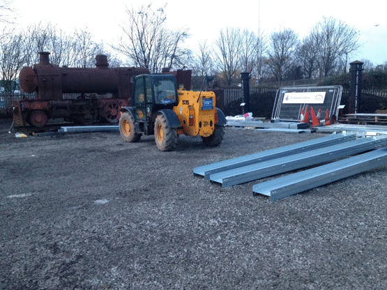 frame parts being moved into place